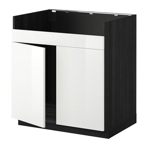 metod l ment pour vier domsj 2 bacs effet bois noir ringhult brillant blanc ikea. Black Bedroom Furniture Sets. Home Design Ideas