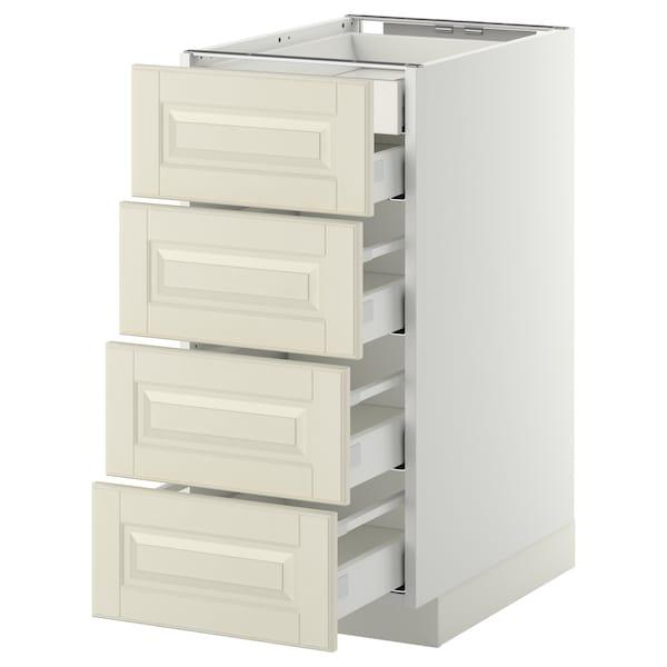 METOD Élt bas 4faces/2tiroirs bas+3moyens, blanc/Bodbyn blanc cassé, 40x60 cm