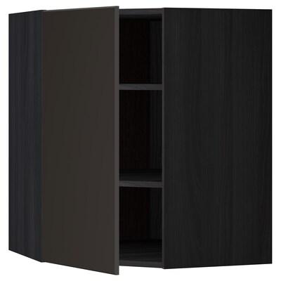 METOD Élt mur ang+tblts, noir/Kungsbacka anthracite, 68x80 cm