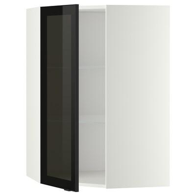 METOD Élt mur ang+tblts/pte vit, blanc/Jutis verre fumé, 68x100 cm