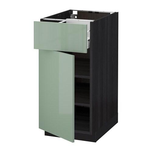metod f rvara l ment bas avec tiroir porte noir kallarp vert clair 40 x 60 cm ikea. Black Bedroom Furniture Sets. Home Design Ideas