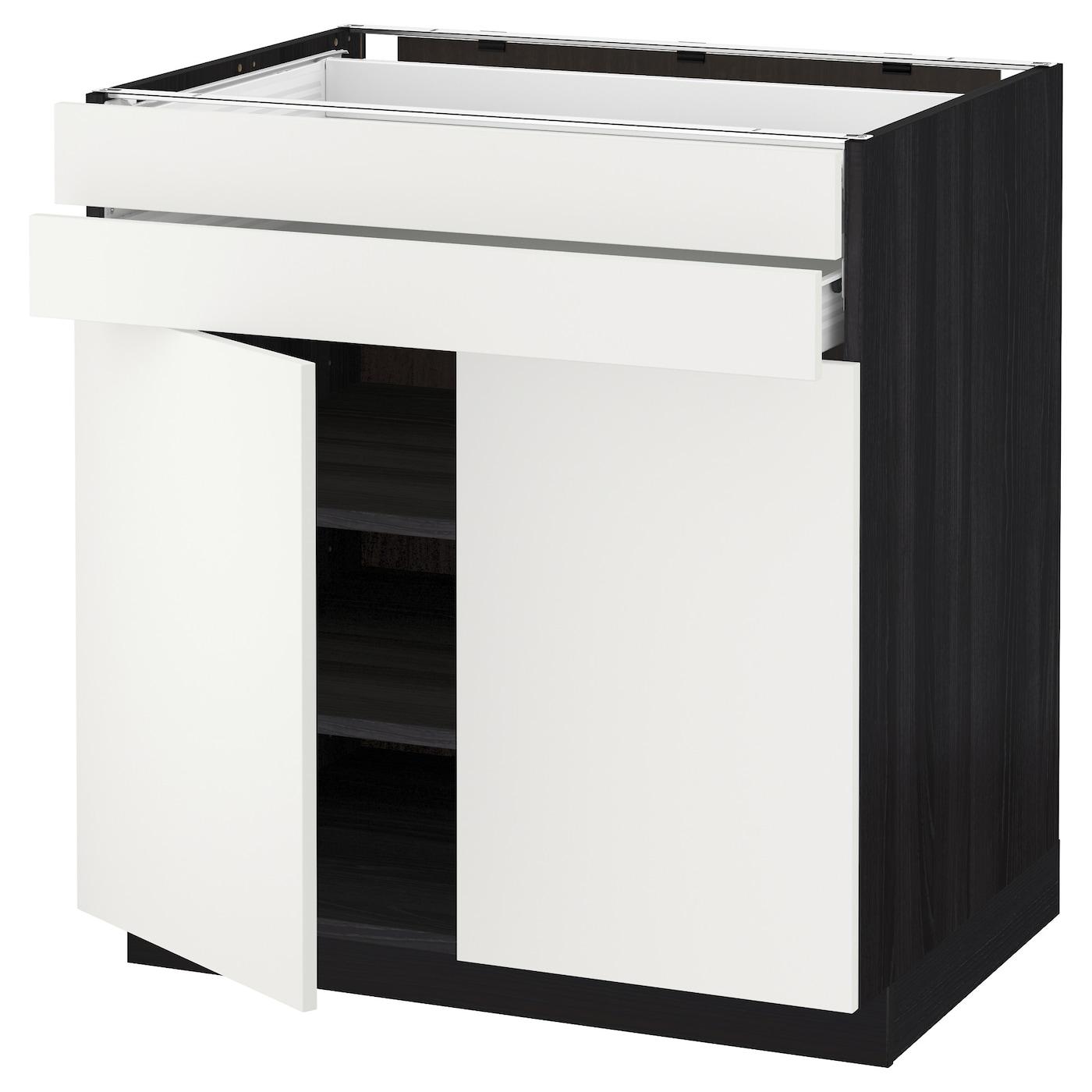metod f rvara lt bas 2 portes 2 tiroirs noir h ggeby blanc 80 x 60 cm ikea. Black Bedroom Furniture Sets. Home Design Ideas