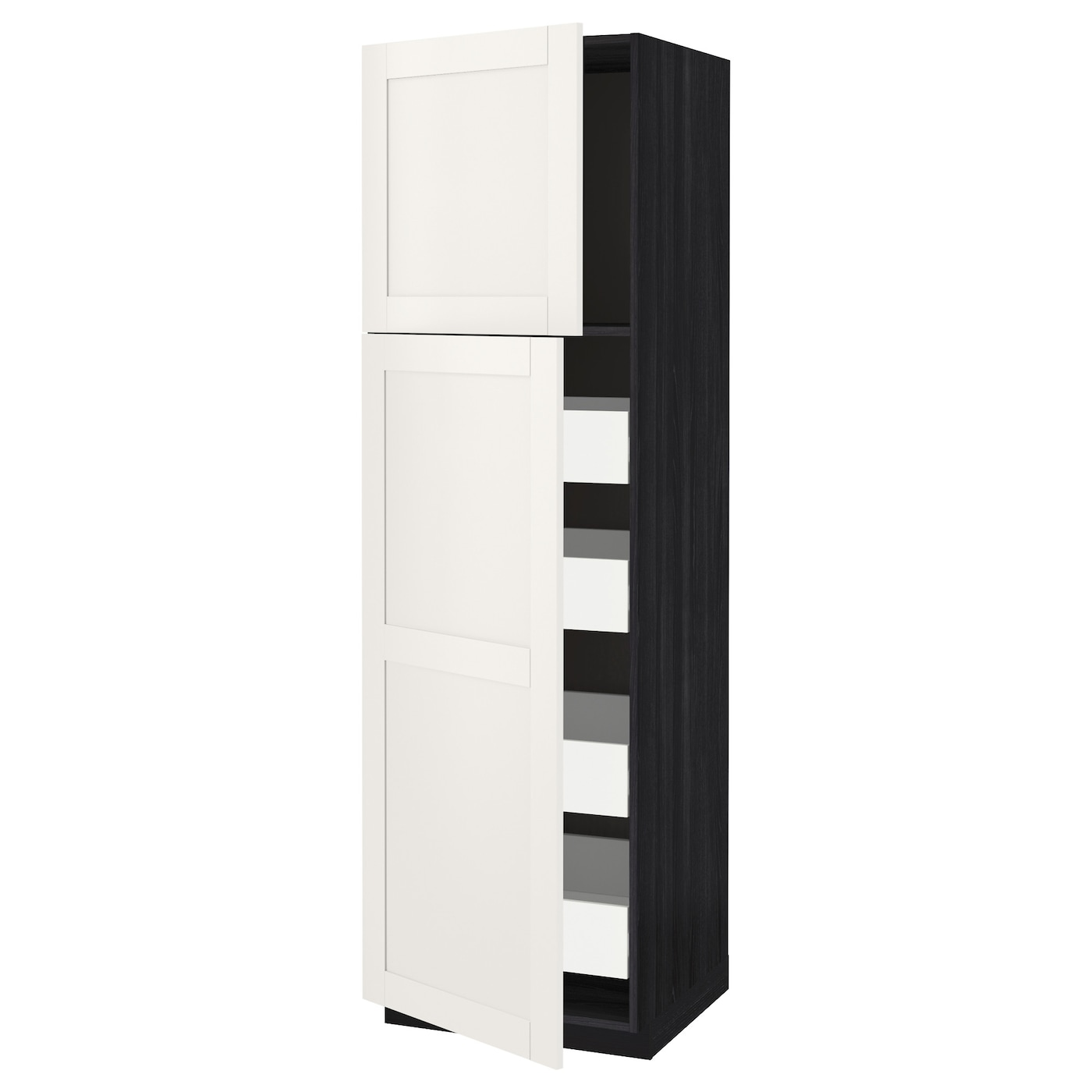 metod f rvara armoire 2 portes 4 tiroirs noir s vedal blanc 60x60x200 cm ikea. Black Bedroom Furniture Sets. Home Design Ideas