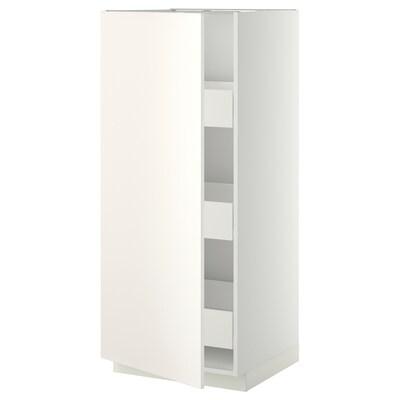 METOD / FÖRVARA Élément armoire avec tiroirs, blanc/Veddinge blanc, 60x60x140 cm