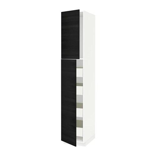 metod f rvara armoire 2 portes 4 tiroirs blanc tingsryd effet bois noir 40x60x220 cm ikea. Black Bedroom Furniture Sets. Home Design Ideas