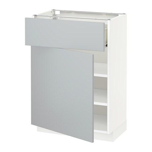 metod f rvara l ment bas avec tiroir porte blanc veddinge gris 60x37 cm ikea. Black Bedroom Furniture Sets. Home Design Ideas