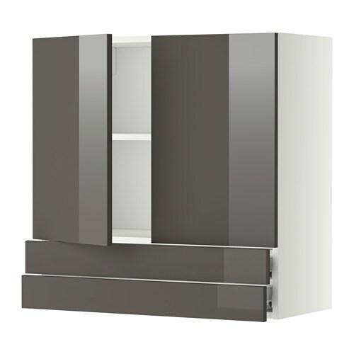 metod f rvara l ment mural 2portes 2tiroirs blanc ringhult brillant gris 80x80 cm ikea. Black Bedroom Furniture Sets. Home Design Ideas
