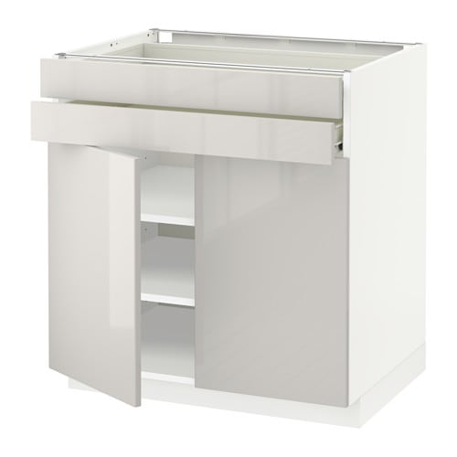 metod f rvara lt bas 2 portes 2 tiroirs blanc ringhult brillant gris clair ikea. Black Bedroom Furniture Sets. Home Design Ideas