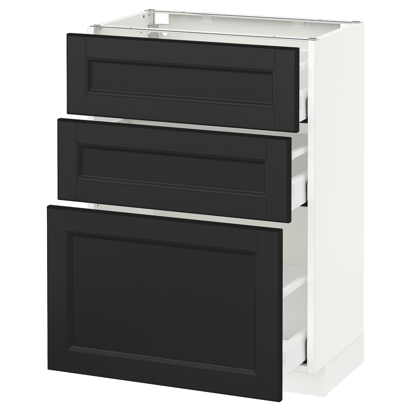 metod maximera l ment bas 3 tiroirs blanc laxarby brun noir 60x37 cm ikea. Black Bedroom Furniture Sets. Home Design Ideas
