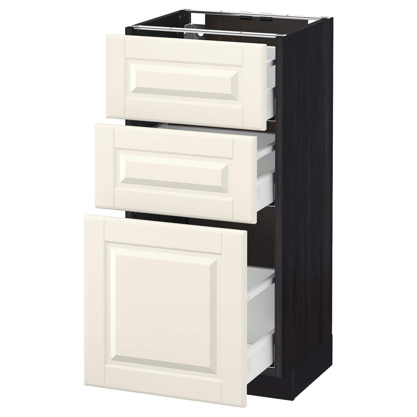 metod maximera l ment bas 3 tiroirs noir bodbyn blanc cass 40x37 cm ikea. Black Bedroom Furniture Sets. Home Design Ideas