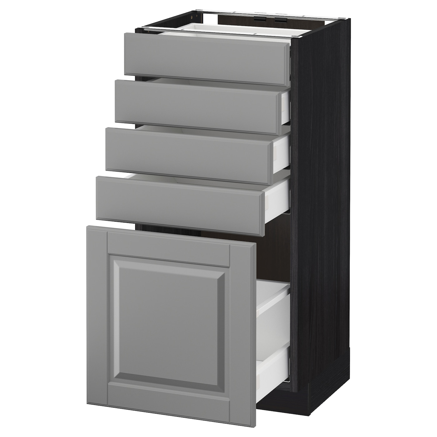 metod maximera l ment bas 5 tiroirs noir bodbyn gris 40x37 cm ikea. Black Bedroom Furniture Sets. Home Design Ideas