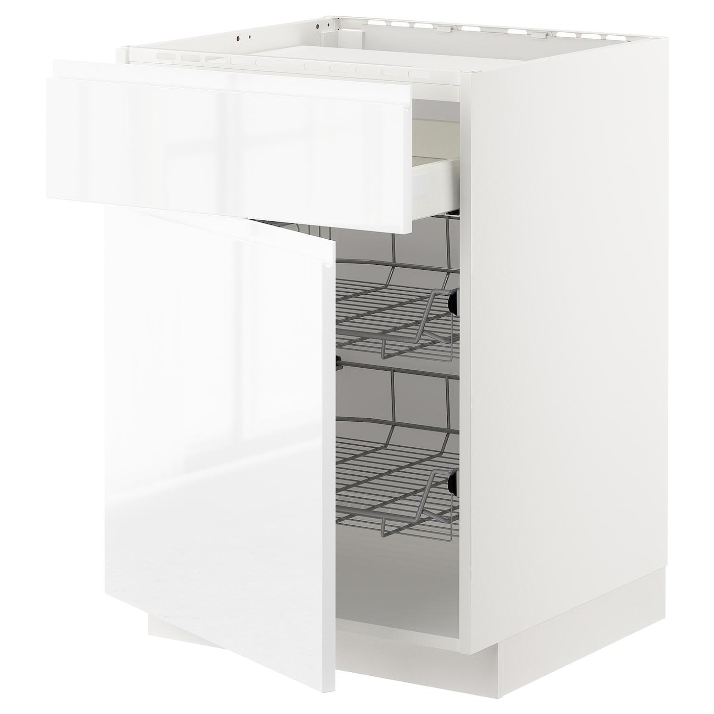 Metod maximera lt bas tbl cuiss tiroir 2corb fil blanc for Meuble 60x60