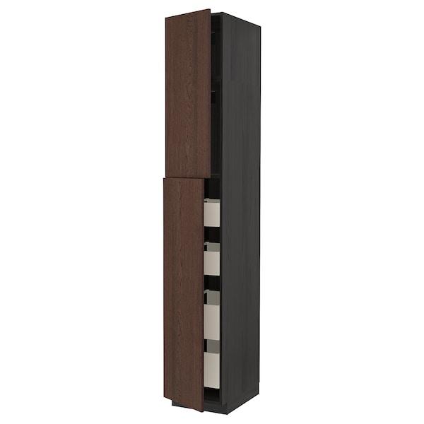 METOD / MAXIMERA Armoire 2 portes/4 tiroirs, noir/Sinarp brun, 40x60x240 cm