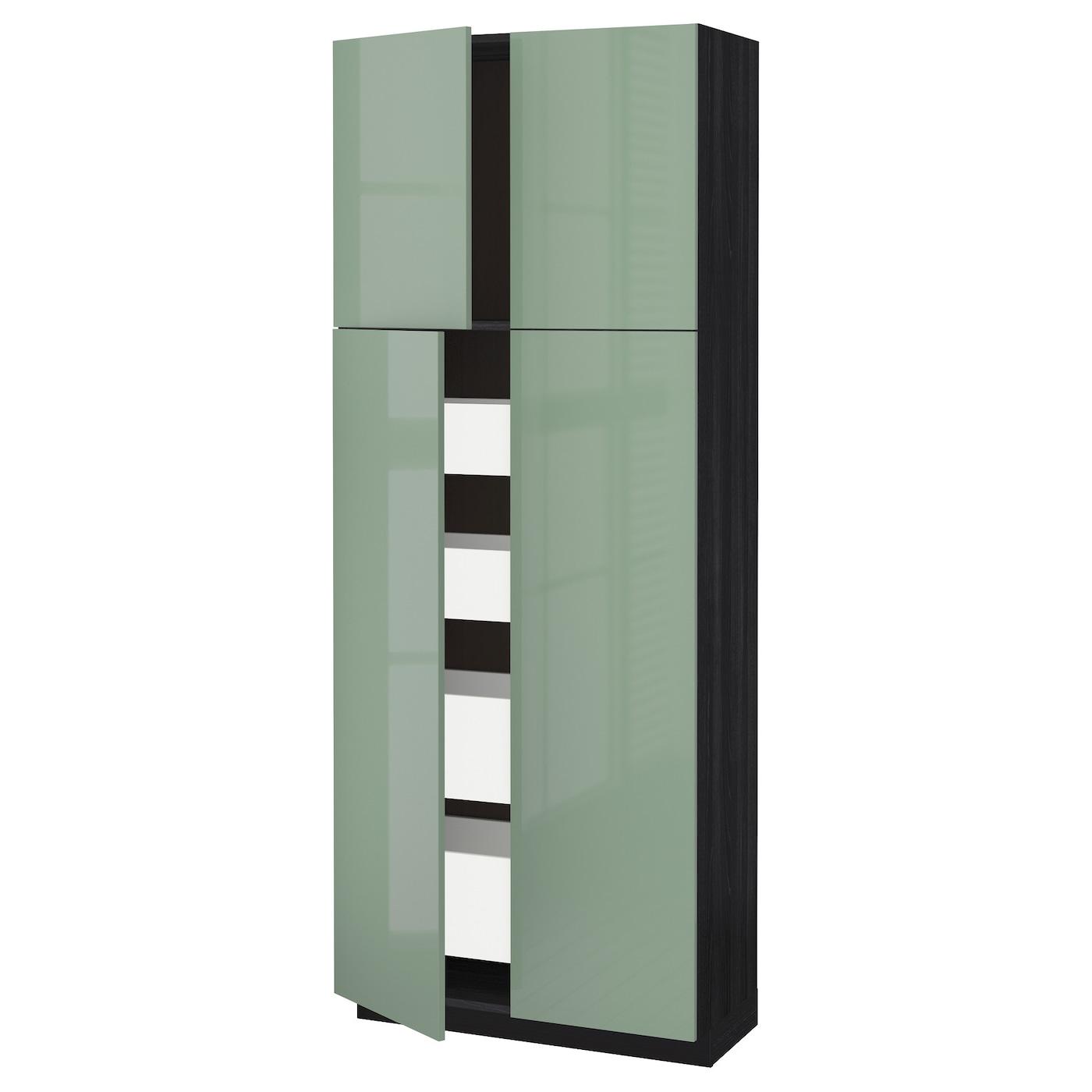 metod maximera armoire 4 portes 4 tirois noir kallarp vert clair 80x37x200 cm ikea. Black Bedroom Furniture Sets. Home Design Ideas
