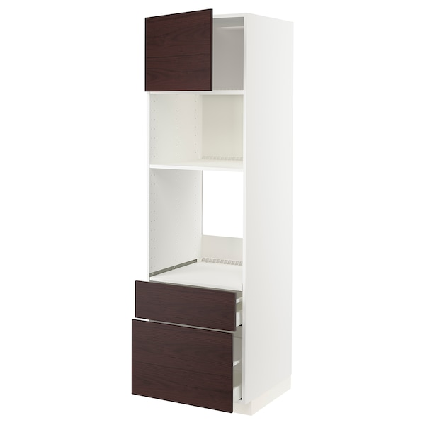 METOD / MAXIMERA Armoire four/micro-ondes+porte/2tir, blanc Askersund/brun foncé décor frêne, 60x60x200 cm