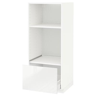 METOD / MAXIMERA Armoire four/micro-ondes + tiroir, blanc/Ringhult blanc, 60x60x140 cm