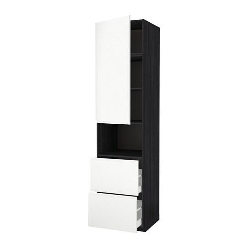 metod maximera armoire micro ondes av porte 2 tir effet bois noir voxtorp blanc 60x60x240. Black Bedroom Furniture Sets. Home Design Ideas
