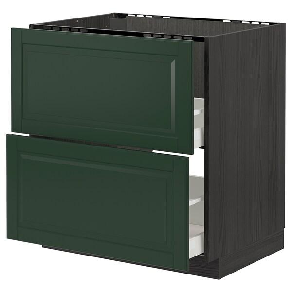 METOD / MAXIMERA élt bas pr évier+2faces/2tiroirs noir/Bodbyn vert foncé 80.0 cm 61.9 cm 88.0 cm 60.0 cm 80.0 cm