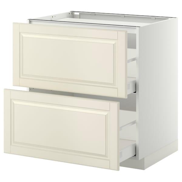 METOD / MAXIMERA Él bas tbl cui/2 faces/2 tiroirs, blanc/Bodbyn blanc cassé, 80x60 cm