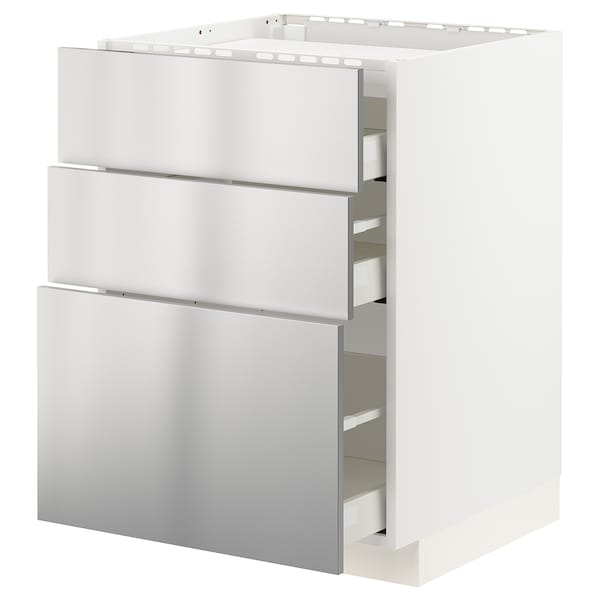 METOD / MAXIMERA Él bas tbl cui/3 faces/3 tiroirs, blanc/Vårsta acier inoxydable, 60x60 cm