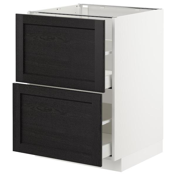 METOD / MAXIMERA Élément bas 2 faces/2 tiroirs hauts, blanc/Lerhyttan teinté noir, 60x60 cm