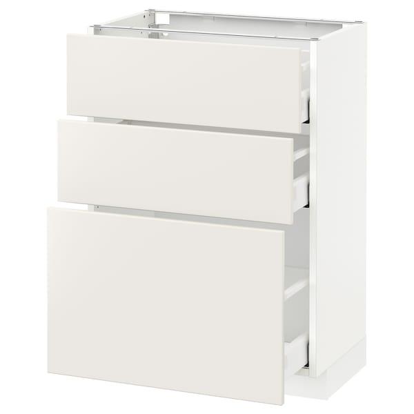 METOD / MAXIMERA Élément bas 3 tiroirs, blanc/Veddinge blanc, 60x37 cm