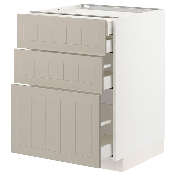 METOD / MAXIMERA Élément bas 3faces/2tir bs+1moy+1ht, blanc/Stensund beige, 60x60 cm