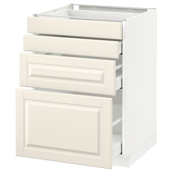 METOD / MAXIMERA Élément bas 4 faces/4 tiroirs, blanc/Bodbyn blanc cassé, 60x60 cm