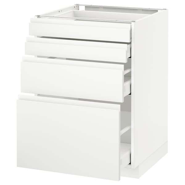 METOD / MAXIMERA Élément bas 4 faces/4 tiroirs, blanc/Voxtorp blanc mat, 60x60 cm