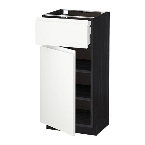 metod maximera l ment bas avec tiroir porte effet bois noir voxtorp blanc 40x37 cm ikea. Black Bedroom Furniture Sets. Home Design Ideas