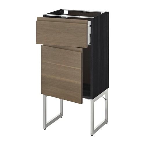 metod maximera l ment bas avec tiroir porte effet bois noir 40x37x60 cm voxtorp motif. Black Bedroom Furniture Sets. Home Design Ideas
