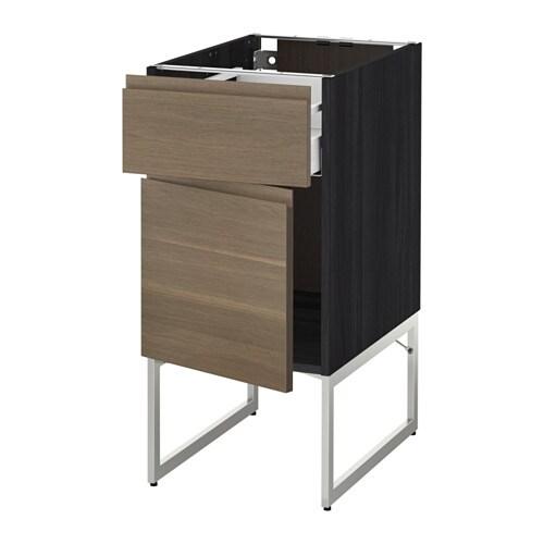 metod maximera l ment bas avec tiroir porte effet bois noir voxtorp motif noyer 40x60x60. Black Bedroom Furniture Sets. Home Design Ideas