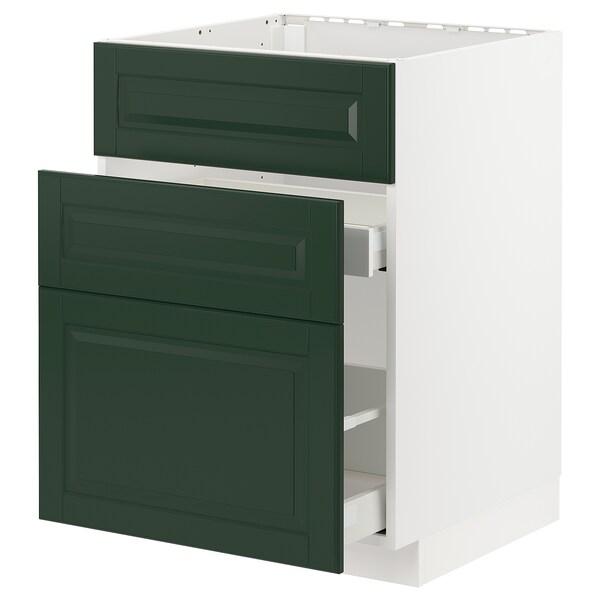 METOD / MAXIMERA Élément bas évier + 3faces/2tiroirs, blanc/Bodbyn vert foncé, 60x60 cm
