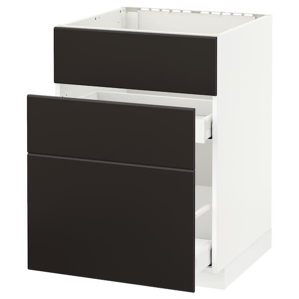 METOD / MAXIMERA Élément bas évier + 3faces/2tiroirs, blanc/Kungsbacka anthracite, 60x60 cm