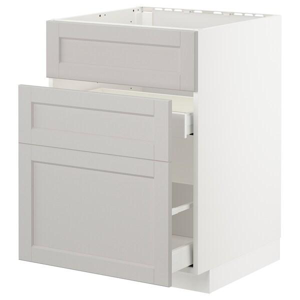 METOD / MAXIMERA Élément bas évier + 3faces/2tiroirs, blanc/Lerhyttan gris clair, 60x60 cm