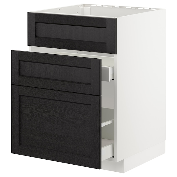 METOD / MAXIMERA Élément bas évier + 3faces/2tiroirs, blanc/Lerhyttan teinté noir, 60x60 cm