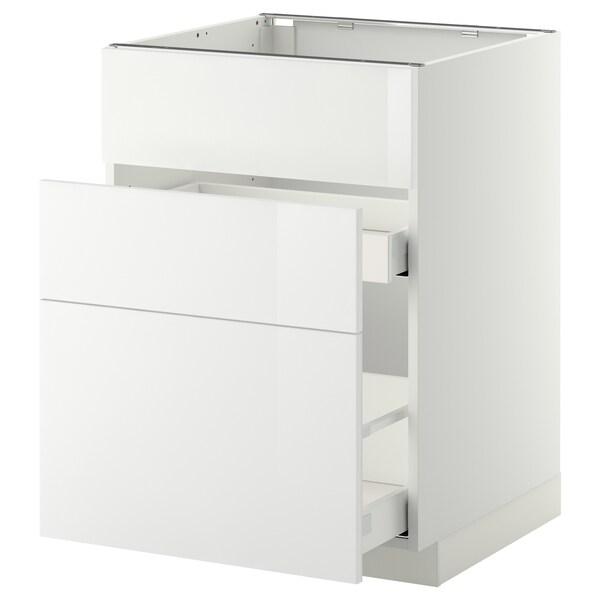 METOD / MAXIMERA Élément bas évier + 3faces/2tiroirs, blanc/Ringhult blanc, 60x60 cm