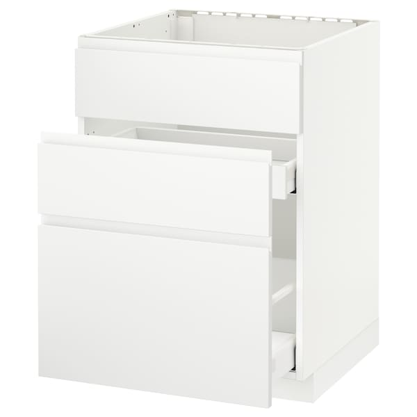 METOD / MAXIMERA Élément bas évier + 3faces/2tiroirs, blanc/Voxtorp blanc mat, 60x60 cm