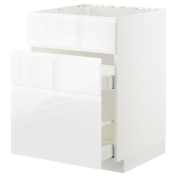 METOD / MAXIMERA Élément bas évier + 3faces/2tiroirs, blanc/Voxtorp brillant/blanc, 60x60 cm