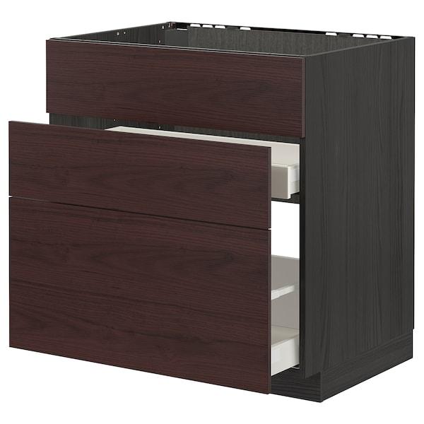 METOD / MAXIMERA Élément bas évier + 3faces/2tiroirs, noir Askersund/brun foncé décor frêne, 80x60 cm