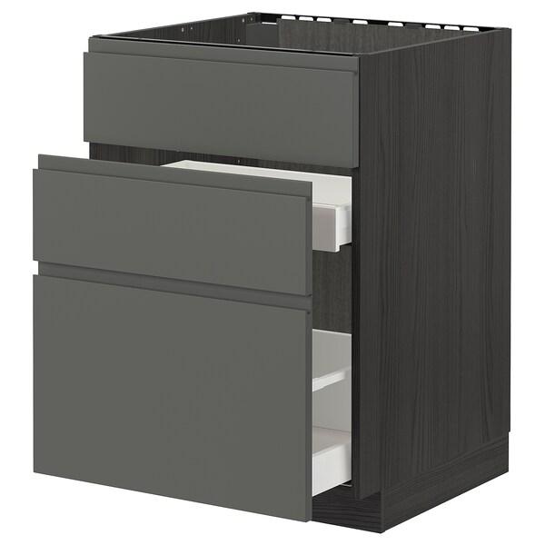 METOD / MAXIMERA Élément bas évier + 3faces/2tiroirs, noir/Voxtorp gris foncé, 60x60 cm
