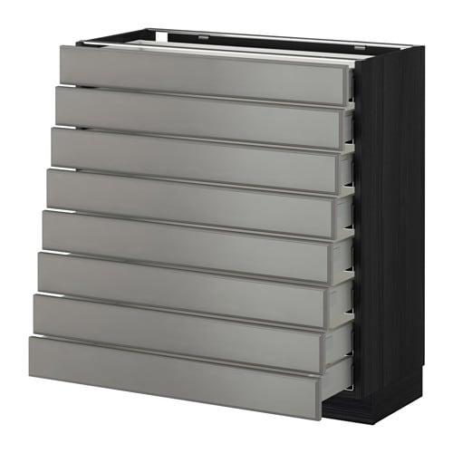 metod maximera l ment bas 8faces 8tiroirs bas effet bois noir bodbyn gris 80x37 cm ikea. Black Bedroom Furniture Sets. Home Design Ideas