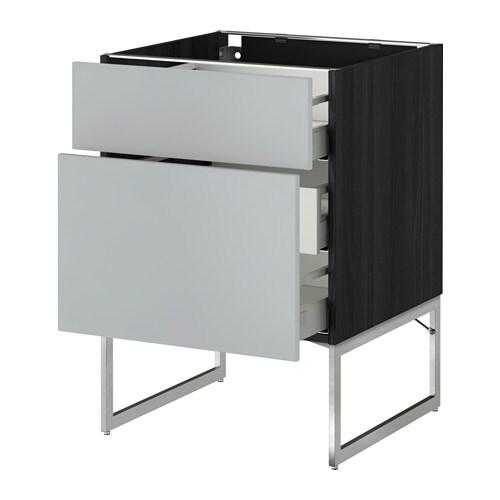 metod maximera l ment bas 2faces 3tiroirs moyens effet bois noir veddinge gris 60x60x60. Black Bedroom Furniture Sets. Home Design Ideas