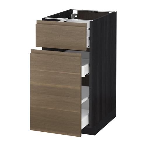 Metod maximera l ment bas rangement coul tiroir effet bois noir 40x60 c - Element bas cuisine ikea ...