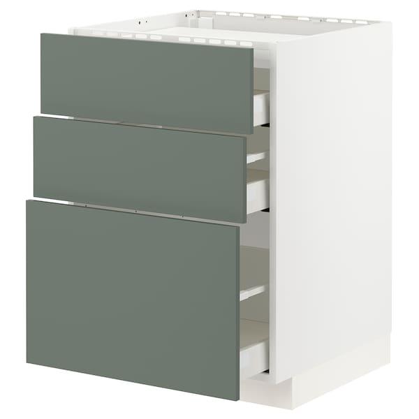 METOD / MAXIMERA Élément bas table cuisson/3fcs/3tir, blanc/Bodarp gris vert, 60x60 cm