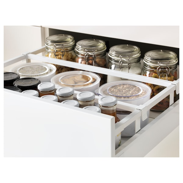 METOD / MAXIMERA Élément bas table cuisson/3fcs/3tir, blanc/Bodbyn gris, 60x60 cm