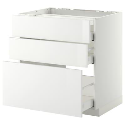 METOD / MAXIMERA Élément bas table cuisson/3fcs/3tir, blanc/Ringhult blanc, 80x60 cm