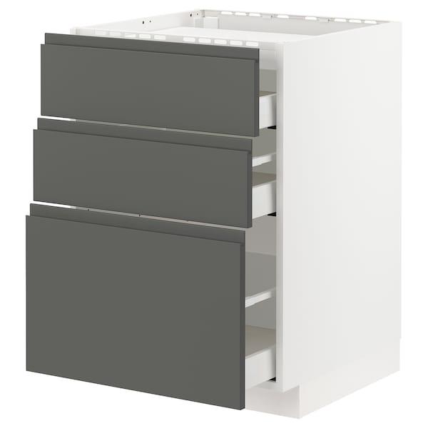 METOD / MAXIMERA Élément bas table cuisson/3fcs/3tir, blanc/Voxtorp gris foncé, 60x60 cm