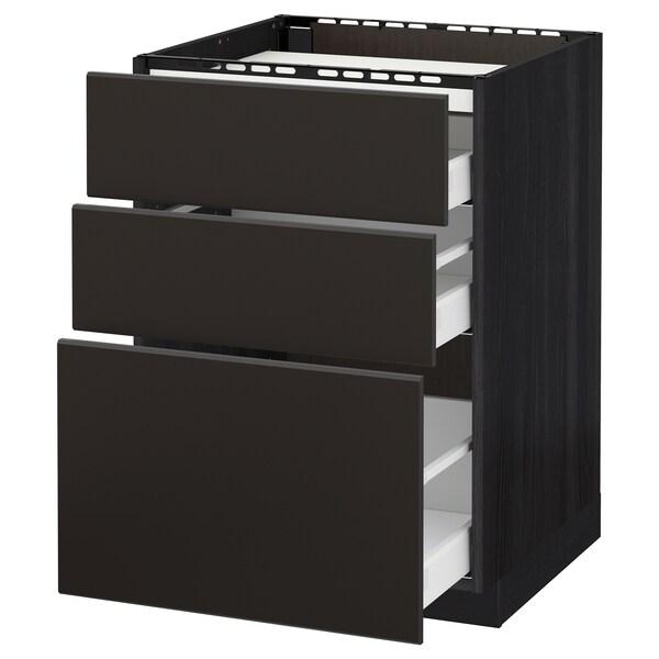 METOD / MAXIMERA Élément bas table cuisson/3fcs/3tir, noir/Kungsbacka anthracite, 60x60 cm