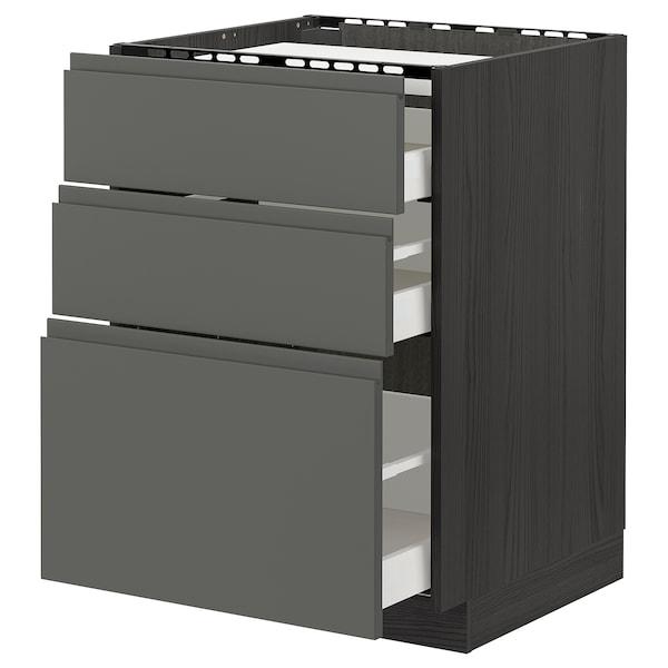 METOD / MAXIMERA Élément bas table cuisson/3fcs/3tir, noir/Voxtorp gris foncé, 60x60 cm